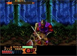 In game image of Crossed Swords on the SNK Neo-Geo AES.