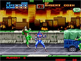 In game image of Eight Man on the SNK Neo-Geo AES.