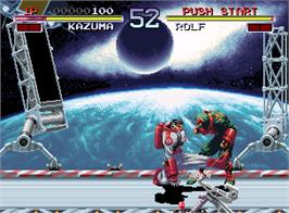In game image of Galaxy Fight: Universal Warriors on the SNK Neo-Geo AES.