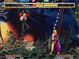 In game image of Garou - Mark of the Wolves on the SNK Neo-Geo AES.