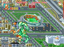 In game image of King of the Monsters 2: The Next Thing on the SNK Neo-Geo AES.