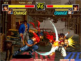 In game image of Kizuna Encounter: Super Tag Battle on the SNK Neo-Geo AES.