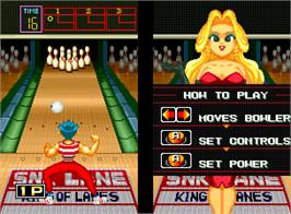 In game image of League Bowling on the SNK Neo-Geo AES.