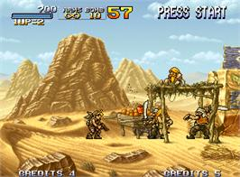 In game image of Metal Slug 2: Super Vehicle - 001/II on the SNK Neo-Geo AES.