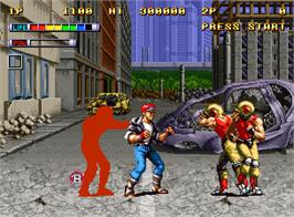 In game image of Mutation Nation on the SNK Neo-Geo AES.