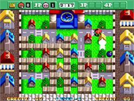 In game image of Neo Bomberman on the SNK Neo-Geo AES.