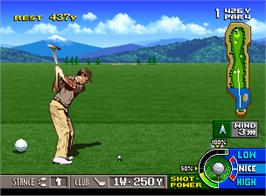 In game image of Neo Turf Masters on the SNK Neo-Geo AES.