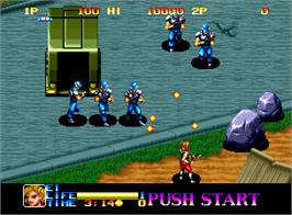 In game image of Ninja Commando on the SNK Neo-Geo AES.