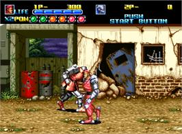 In game image of Robo Army on the SNK Neo-Geo AES.