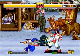 In game image of Samurai Shodown on the SNK Neo-Geo AES.