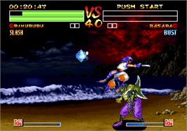 In game image of Samurai Shodown IV: Amakusa's Revenge on the SNK Neo-Geo AES.