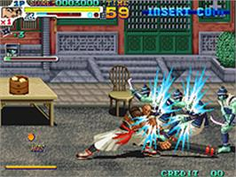 In game image of Sengoku 3 on the SNK Neo-Geo AES.