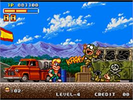 In game image of Spinmaster on the SNK Neo-Geo AES.