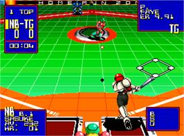 In game image of Super Baseball 2020 on the SNK Neo-Geo AES.