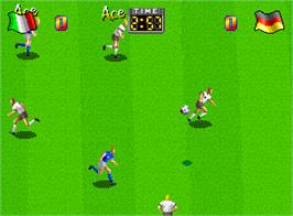 In game image of Super Sidekicks on the SNK Neo-Geo AES.