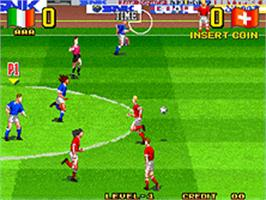 In game image of Super Sidekicks 3: The Next Glory on the SNK Neo-Geo AES.