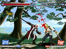 In game image of The Last Blade 2: Heart of the Samurai on the SNK Neo-Geo AES.