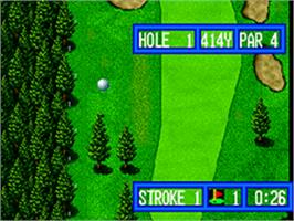 In game image of Top Player's Golf on the SNK Neo-Geo AES.