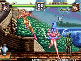 In game image of Voltage Fighter Gowcaizer on the SNK Neo-Geo AES.