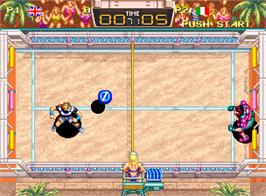 In game image of Windjammers on the SNK Neo-Geo AES.