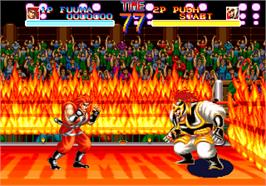 In game image of World Heroes on the SNK Neo-Geo AES.