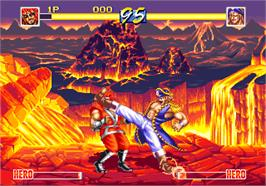 In game image of World Heroes Perfect on the SNK Neo-Geo AES.