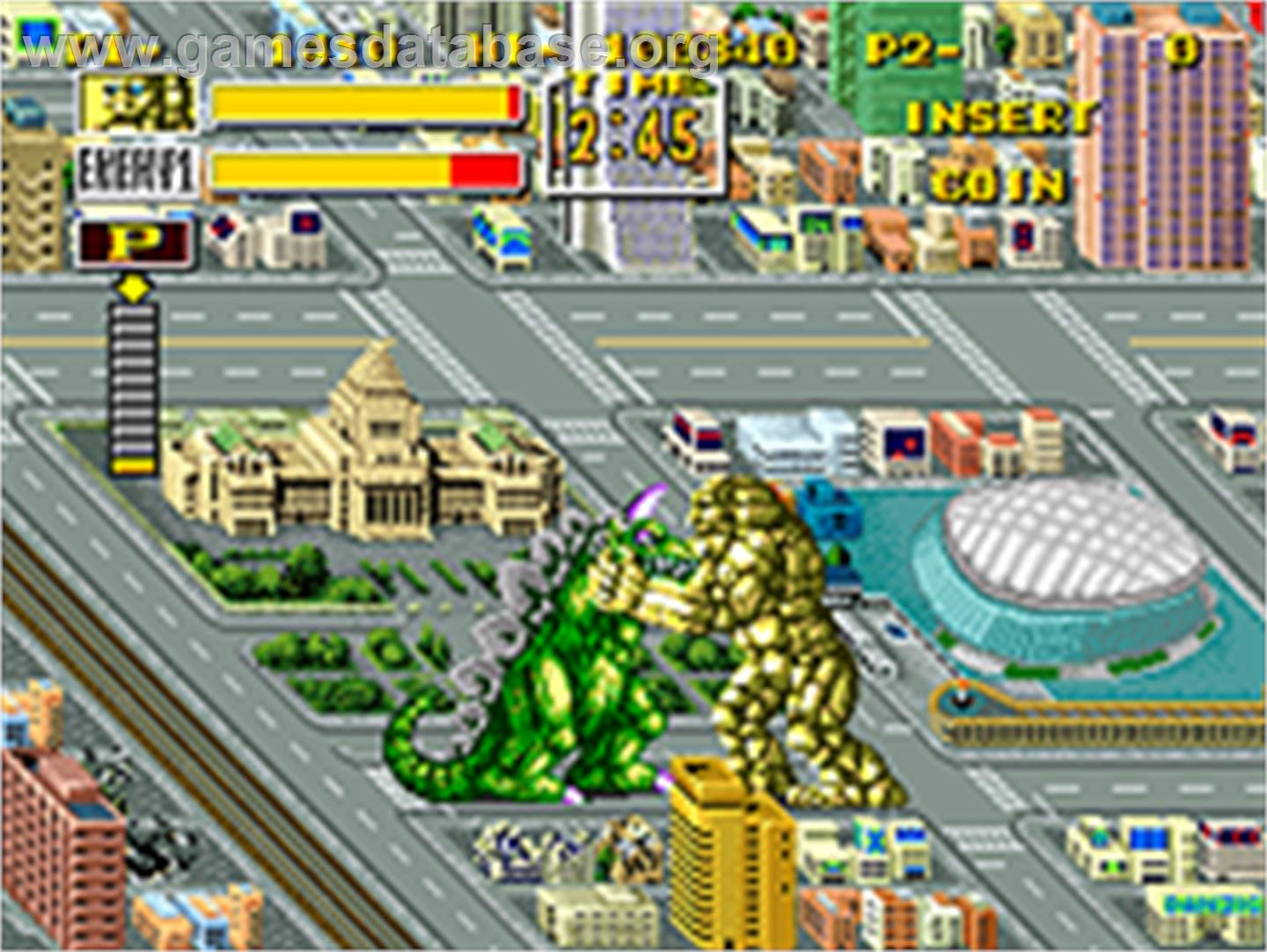 In game image of King of the Monsters on the SNK Neo-Geo AES.