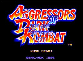 Title screen of Aggressors of Dark Kombat on the SNK Neo-Geo AES.