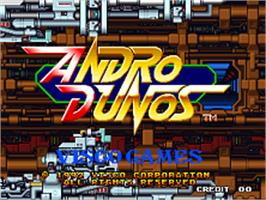 Title screen of Andro Dunos on the SNK Neo-Geo AES.