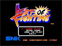 Title screen of Art of Fighting on the SNK Neo-Geo AES.