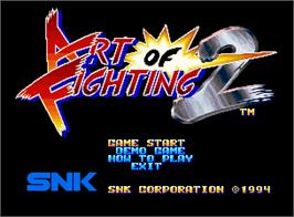 Title screen of Art of Fighting 2 on the SNK Neo-Geo AES.
