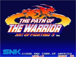 Title screen of Art of Fighting 3: The Path of The Warrior on the SNK Neo-Geo AES.