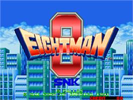 Title screen of Eight Man on the SNK Neo-Geo AES.