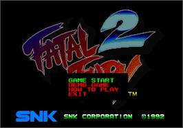 Title screen of Fatal Fury 2 on the SNK Neo-Geo AES.