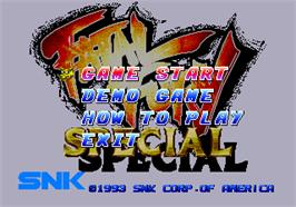 Title screen of Fatal Fury Special on the SNK Neo-Geo AES.