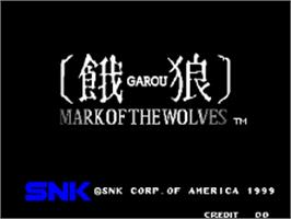 Title screen of Garou - Mark of the Wolves on the SNK Neo-Geo AES.