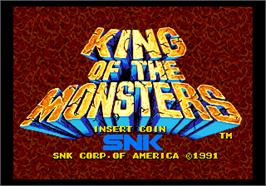 Title screen of King of the Monsters on the SNK Neo-Geo AES.