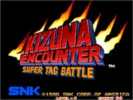 Title screen of Kizuna Encounter: Super Tag Battle on the SNK Neo-Geo AES.