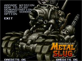 Title screen of Metal Slug: Super Vehicle - 001 on the SNK Neo-Geo AES.