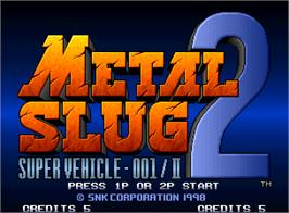 Title screen of Metal Slug 2: Super Vehicle - 001/II on the SNK Neo-Geo AES.