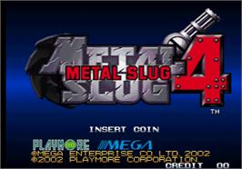 Title screen of Metal Slug 4 on the SNK Neo-Geo AES.