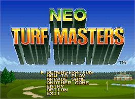 Title screen of Neo Turf Masters on the SNK Neo-Geo AES.
