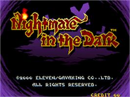 Title screen of Nightmare in the Dark on the SNK Neo-Geo AES.