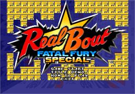 Title screen of Real Bout Fatal Fury Special on the SNK Neo-Geo AES.