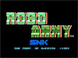 Title screen of Robo Army on the SNK Neo-Geo AES.