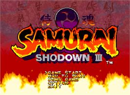 Title screen of Samurai Shodown III: Blades of Blood on the SNK Neo-Geo AES.