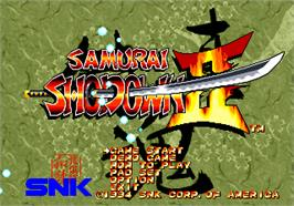 Title screen of Samurai Shodown II on the SNK Neo-Geo AES.