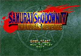 Title screen of Samurai Shodown IV: Amakusa's Revenge on the SNK Neo-Geo AES.
