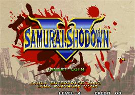 Title screen of Samurai Shodown V on the SNK Neo-Geo AES.