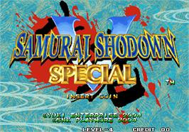Title screen of Samurai Shodown V Special on the SNK Neo-Geo AES.
